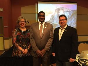 Welcoming Dr. Angelo McClain, national Executive Director of NASW to the 2015 NASW Oregon Conference with Delmar Stone, NASW Oregon Director