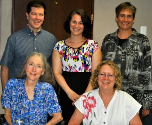 Jessica Schmidt Dissertation Defense,  Pictured (left to right),  Tom Keller, Sarah Geenen, Laurie Powers and Ann Fullerton (Lew Banks not pictured).